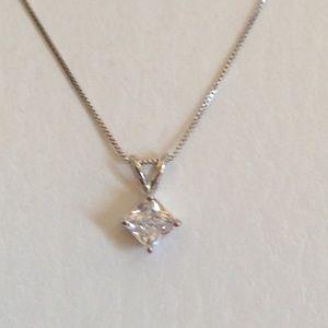 Jewelry - Brilliant Radiant  Diamond Pendant Necklace